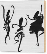 Ink Painting With Abstract Dancers  Wood Print
