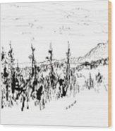 Ink Sketch Wood Print