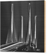 Inlet Bridge Light Trails In Black And White Wood Print