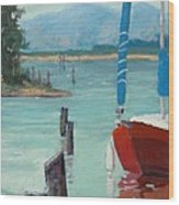 Inlet With Sailboat    Laconner Wa Wood Print