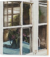 Inn Window Wood Print