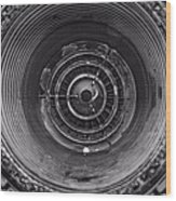 Inside A Jet Engine Black And White Wood Print