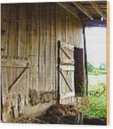 Inside An Indiana Barn Wood Print by Julie Dant