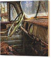 Inside An Old Truck Wood Print