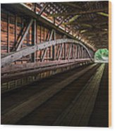 Inside Covered Bridge Wood Print