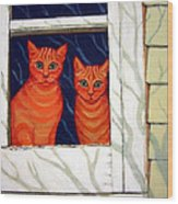Orange Cats Looking Out Window Wood Print