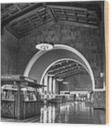 Inside Los Angeles Union Station In Black And White Wood Print