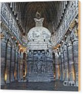 Inside One Of The Ajanta Caves Wood Print