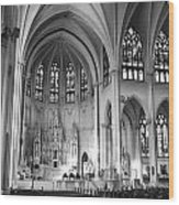 Inside The Cathedral Basilica Of The Immaculate Conception 1 Bw Wood Print