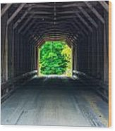 Inside The Covered Bridge Wood Print by Jason Brow