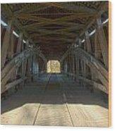 Inside The Cox Ford Covered Bridge Wood Print