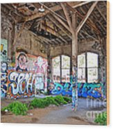 Inside The Old Train Roundhouse At Bayshore Near San Francisco And The Cow Palace II Wood Print