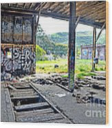 Inside The Old Train Roundhouse At Bayshore Near San Francisco And The Cow Palace Iv Wood Print