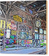 Inside The Old Train Roundhouse At Bayshore Near San Francisco And The Cow Palace V  Wood Print