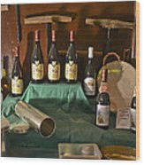 Inside The Wine Cellar Wood Print by Allen Sheffield