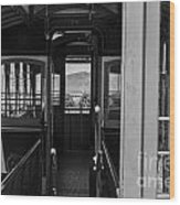 Inside Trolley 28 Black And White Wood Print