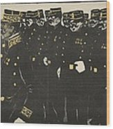 Inspection Of A Line Of Police Wood Print