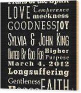 Inspirational Art - Sylvia And John King Wedding. Wood Print
