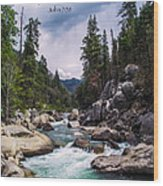 Inspirational Bible Scripture Emerald Flowing River Fine Art Original Photography Wood Print