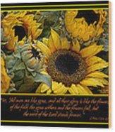 Inspirational Sunflowers Wood Print