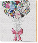 Inspirational Uplifting Floral Balloon Art A Bouquet Of Balloons Just For You By Megan Duncanson Wood Print
