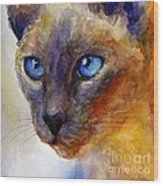 Intense Siamese Cat Painting Print 2 Wood Print by Svetlana Novikova