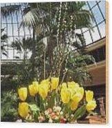 Interior Decorations Butterfly Gardens Vegas Golden Yellow Tulip Flowers Wood Print