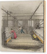 Interior Of Cotton Mill With Man Wood Print