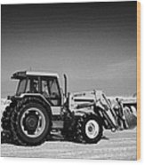 international 5140 tractor with front end loader on frozen field Forget Saskatchewan Canada Wood Print