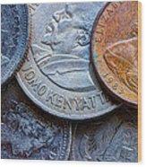 International Coins Wood Print