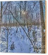 Intersecting Snow Streams Wood Print