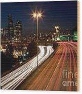 Interstate Traffic In Seattle Washington Wood Print
