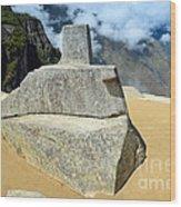 Inti Watana Stone Calendar At Machu Picchu Wood Print