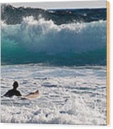Into The Surf Wood Print