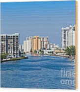 Intracoastal Waterway In Hollywood Florida Wood Print
