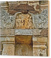 Intricate Carving At Wat Mahathat In 13th Century Sukhothai Hist Wood Print