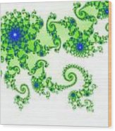 Intricate Green Blue Fractal Based On Julia Set Wood Print