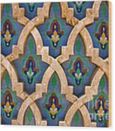 Intricate Zelji at the Hassan II Mosque Sour Jdid Casablanca Morocco Wood Print