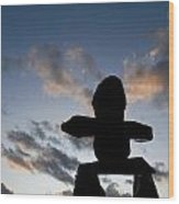 Inukshuk Silhouette Sunset Wood Print