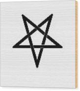 Inverted Black Pentagram Wood Print