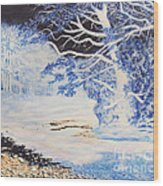 Inverted Lights At Trawscoed Aberystwyth Welsh Landscape Abstract Art Wood Print