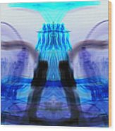 inverted Mirrored Symmetry And Electron Volcano Waves Photography Wood Print