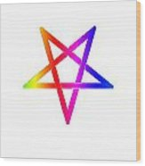 Inverted Rainbow Pentagram Wood Print