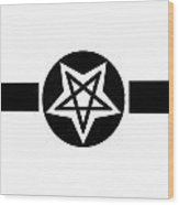 Inverted Wicca Military Symbol Wood Print