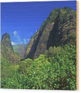 Io Needle And Valley Maui Hawaii Wood Print