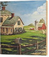 Cherokee Iowa Farm House Wood Print