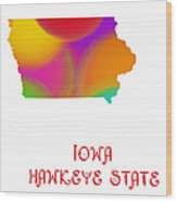 Iowa State Map Collection 2 Wood Print