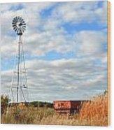 Iowa Windmill Wood Print