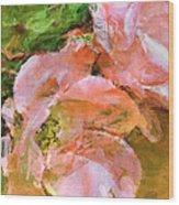 Iphone Pink Rose Digital Paint Wood Print