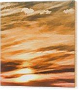 Iphone Sunset Digital Paint Wood Print